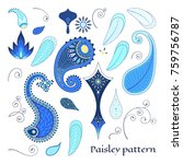 set for design with paisley ... | Shutterstock .eps vector #759756787