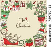 christmas and new year card... | Shutterstock .eps vector #759757483