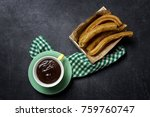 typical spanish churros with... | Shutterstock . vector #759760747