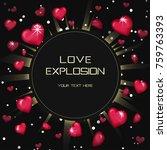 glossy love hearts light beam... | Shutterstock .eps vector #759763393