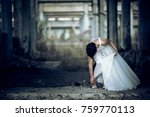 bride in a ruined building | Shutterstock . vector #759770113