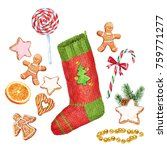 christmas socks and gifts.... | Shutterstock . vector #759771277