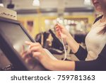young woman hand doing process... | Shutterstock . vector #759781363