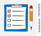 checklist icon in doodle sketch ... | Shutterstock .eps vector #759782953