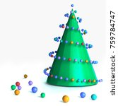 christmas tree with balls... | Shutterstock . vector #759784747