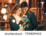 romantic surprise for christmas ...   Shutterstock . vector #759809443