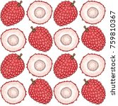 seamless pattern with ripe red... | Shutterstock .eps vector #759810367