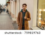 handsome stylish man in a... | Shutterstock . vector #759819763