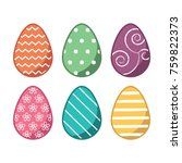 colorful easter eggs wax resist ... | Shutterstock .eps vector #759822373