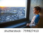 thoughtful boy standing at the... | Shutterstock . vector #759827413