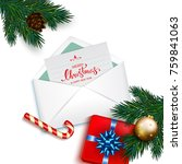 open envelope with card merry... | Shutterstock . vector #759841063
