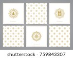luxury retro x mas cards with... | Shutterstock .eps vector #759843307