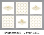 luxury retro x mas cards with... | Shutterstock .eps vector #759843313