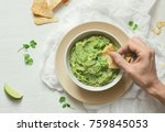 guacamole freshly cooked and... | Shutterstock . vector #759845053