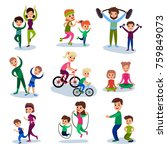 parents and their kids training ... | Shutterstock .eps vector #759849073