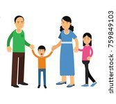 happy parents standing with... | Shutterstock .eps vector #759849103