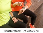 friends looking at smart watch... | Shutterstock . vector #759852973