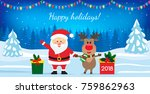 santa claus and deer and gift... | Shutterstock .eps vector #759862963