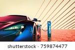 electric power super car. 3d... | Shutterstock . vector #759874477