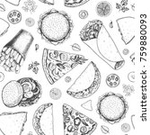 fast food seamless pattern.... | Shutterstock .eps vector #759880093