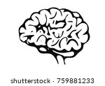 vector emblem with brain.... | Shutterstock .eps vector #759881233
