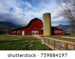 a beautiful old red barn... | Shutterstock . vector #759884197