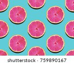 grapefruit in flat lay fruity... | Shutterstock . vector #759890167