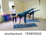boy and girl perform yoga... | Shutterstock . vector #759895033