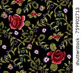 embroidery ethnic seamless... | Shutterstock .eps vector #759902713