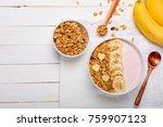 pink cherry greek yogurt derry...   Shutterstock . vector #759907123