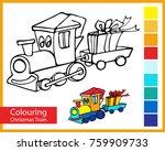 colouring christmas train.... | Shutterstock .eps vector #759909733