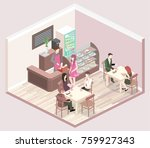 isometric interior of coffee... | Shutterstock .eps vector #759927343