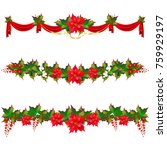 christmas garland with... | Shutterstock .eps vector #759929197