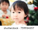 cute child  christmas image | Shutterstock . vector #759934357