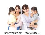 two mothers carrying  children... | Shutterstock . vector #759938533