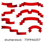red glossy ribbon  banners set. ... | Shutterstock . vector #759946357