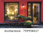 christmas decorated showcase... | Shutterstock . vector #759958417