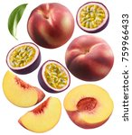 whole peaches and passion fruit ... | Shutterstock . vector #759966433