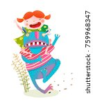 fun baby girl riding playing...   Shutterstock .eps vector #759968347
