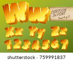 vector 3d gold font in cartoon... | Shutterstock .eps vector #759991837