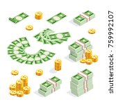 set of isometric money isolated ... | Shutterstock . vector #759992107