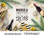 merry christmas and happy new...   Shutterstock . vector #759994867