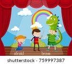 opposite word for afraid and... | Shutterstock .eps vector #759997387