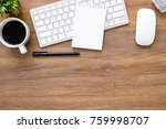 wood office desk table with... | Shutterstock . vector #759998707