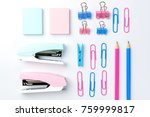stationary concept  flat lay... | Shutterstock . vector #759999817