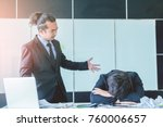 Small photo of Asian businessman angry manager shareholders are unhappy with the running of henchman and concerned with the way the recent annual meeting to working team to complaint for project delay