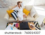 female freelancer in a white... | Shutterstock . vector #760014337