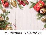 christmas decoration on white... | Shutterstock . vector #760025593