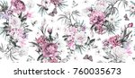 seamless pattern with flowers... | Shutterstock . vector #760035673