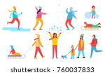 people winter action collection ... | Shutterstock .eps vector #760037833